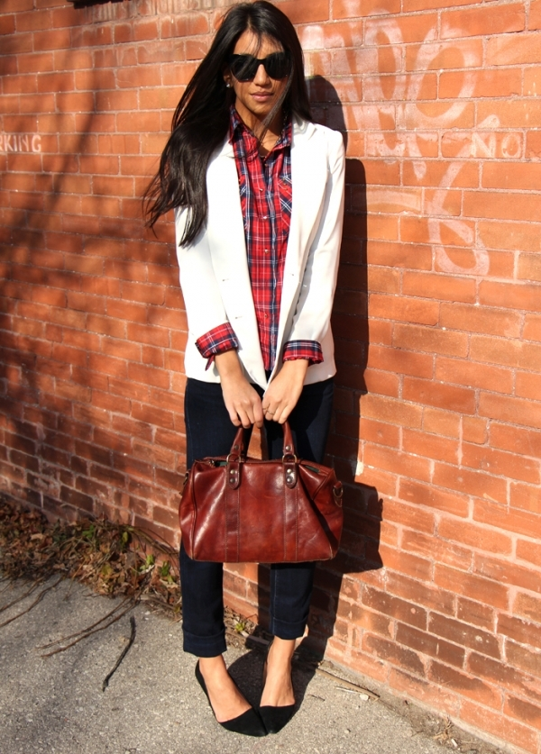 5 ways to wear plaid shirts apricot lane boutique for Plaid shirt under sweater