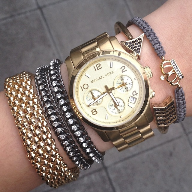 Wanna Arm Party Candy Swag Bracelets Stack Jewelry Mixed Metal Elle Yeah Elodie Russo Blog Post Fashion Beauty Lifestyle H&M Michael Kors Stella and Dot UK