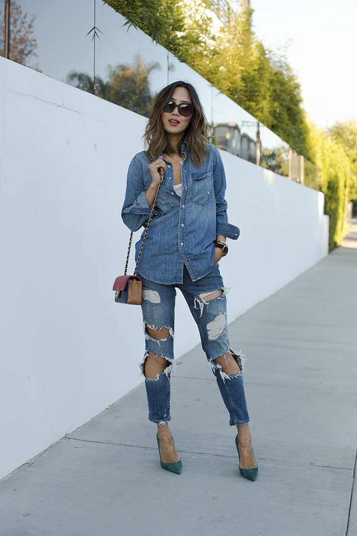 Aimee_song_of_style_denim_shirt_ripped_denim_jeans_christian_louboutin_pumps