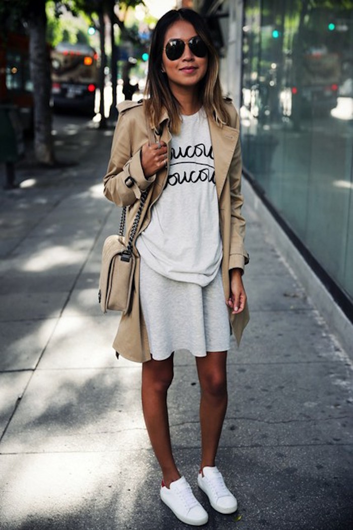 rmuayw-l-610x610-sincerely+jules-blogger-dress-trench+coat-quote-graphic+tee-stan+smith