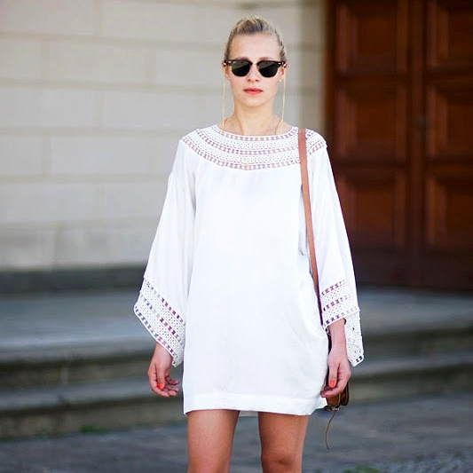 Le-Fashion-Blog-Summer-Street-Style-White-Dress-Eyelet-Long-Sleeves-Clubmaster-Sunglasses-Chain-Saddle-Bag-Via-Vanessa-Jackman
