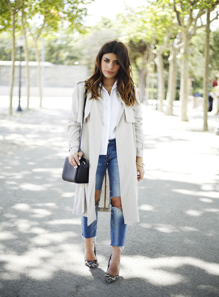 love-style-studio-blog-light-grey-beige-trench-coat-white-shirt-wavy-ombre-hair-ripped-jeans-raw-hem-leopard-heels-aida-domenech-dulceida