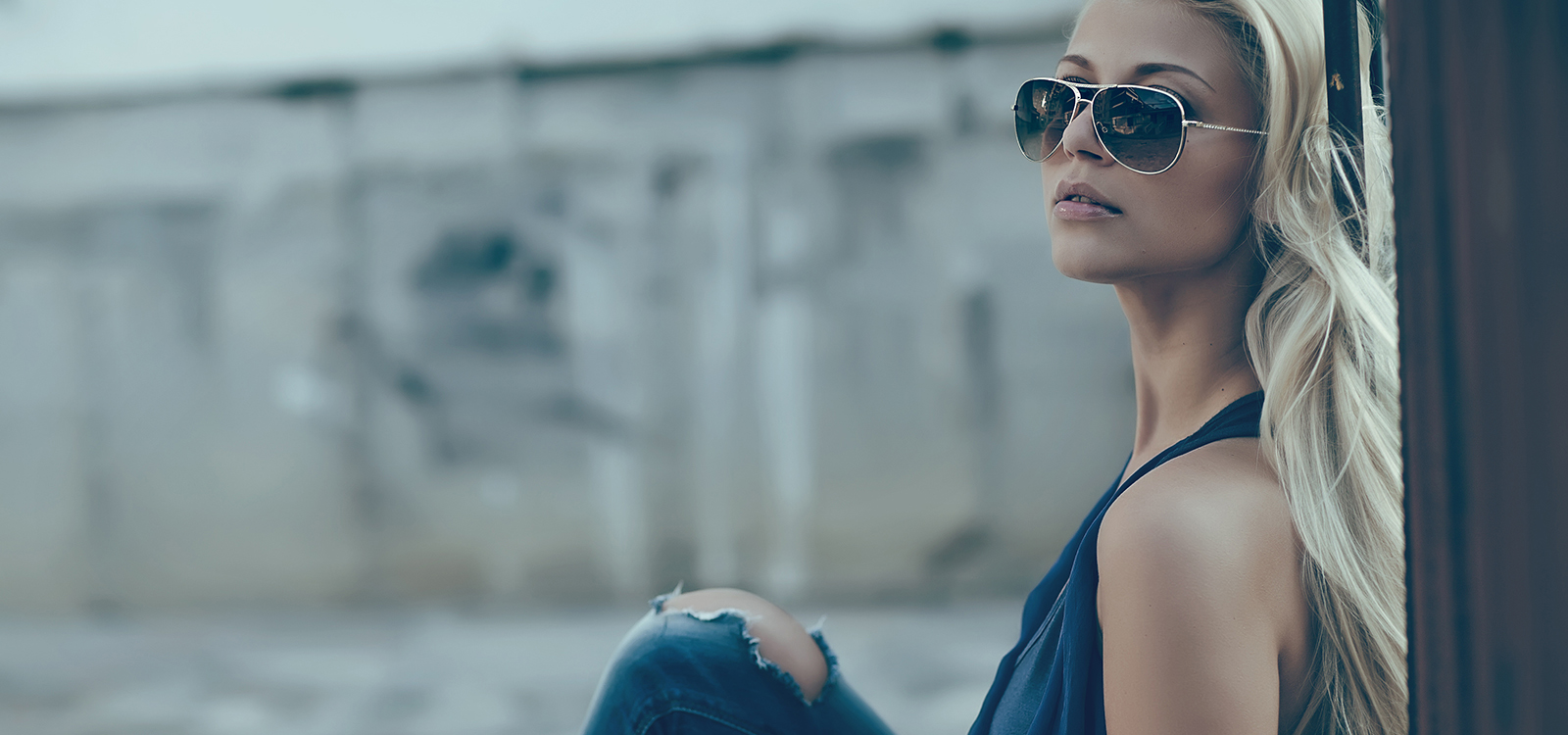 portrait of sexy woman with sunglasses