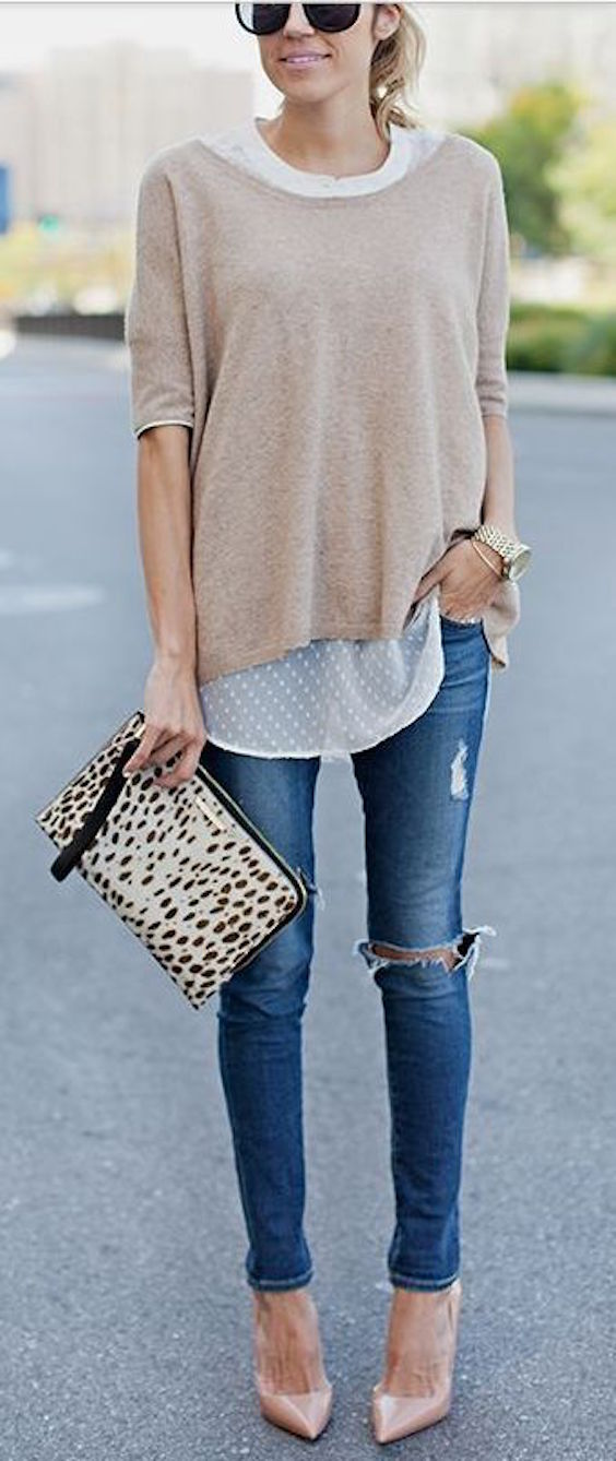 stripped jeans brown top